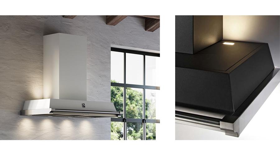 4 spodné a 2 vrchné LED svetlá na nástennom digestore OXFORD, š 90 cm